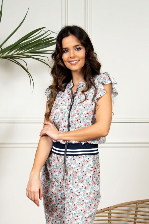Printed blouse with elastic belt