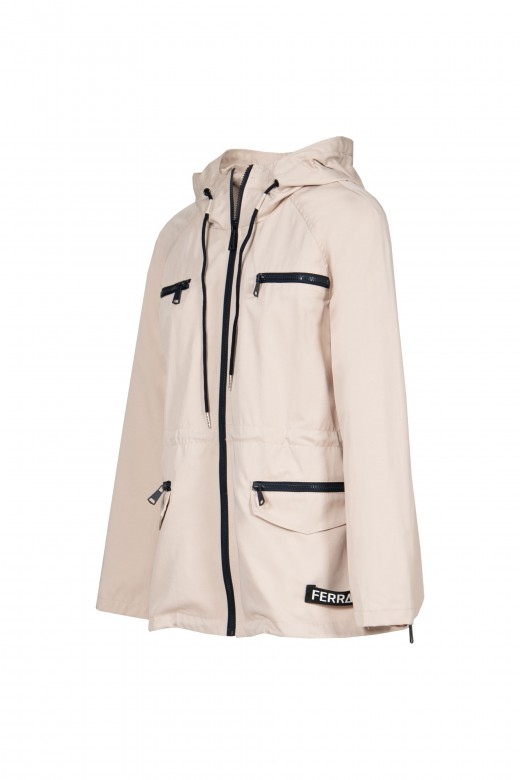 Hooded parka and logo strip