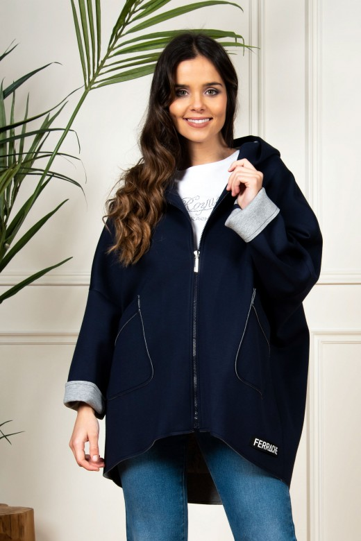 Double-knit hooded coat