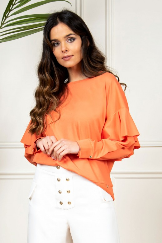 Cuffed ruffled sleeves sweater
