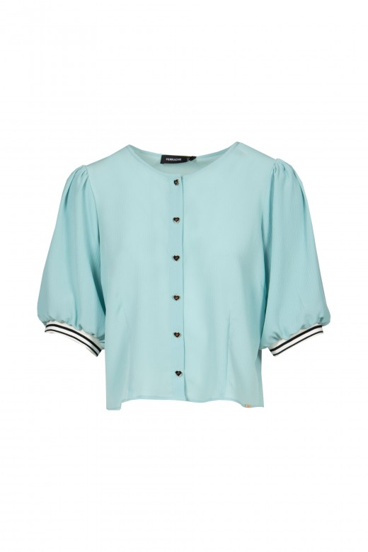 Fluffy short-sleeved blouse and buttons