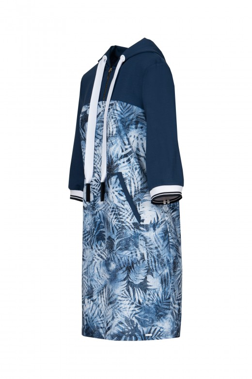 Printed 3/4 sleeve hooded dress