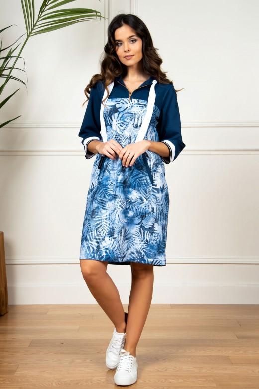 Printed 3/4 sleeve hooded dress