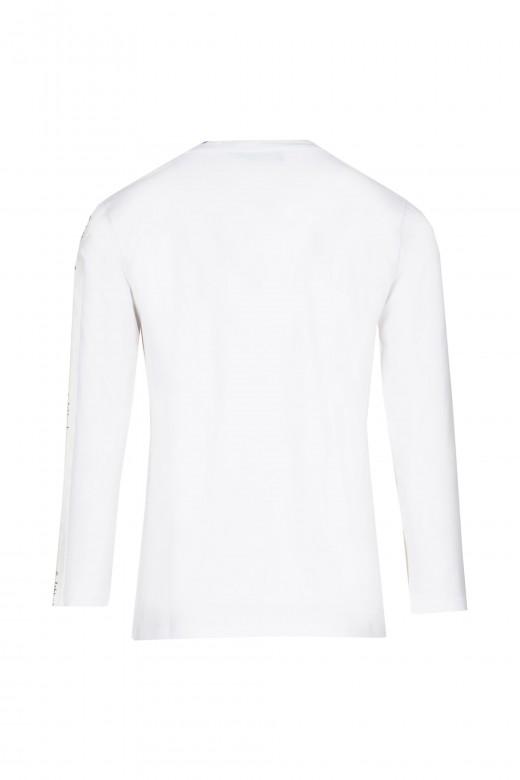 S-shirt pérolas e fita logo