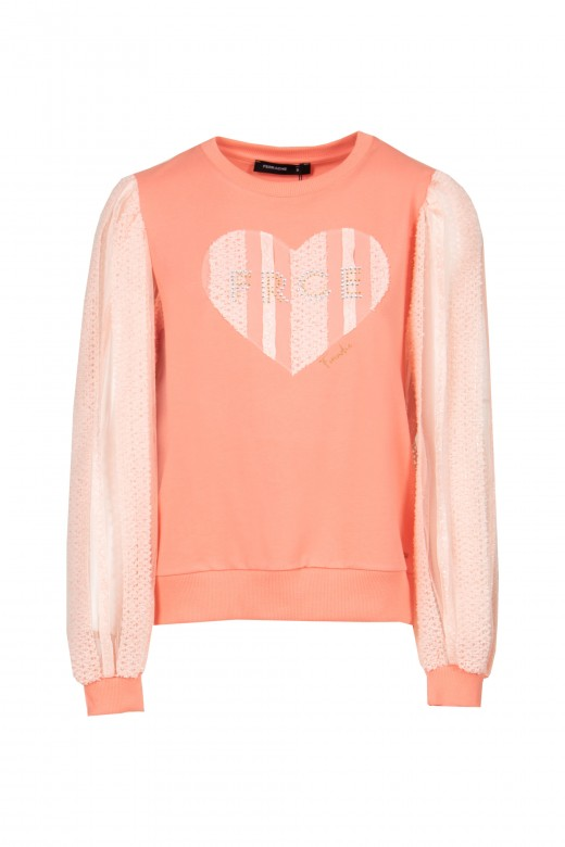 Knitted sweater with transparency on the sleeve