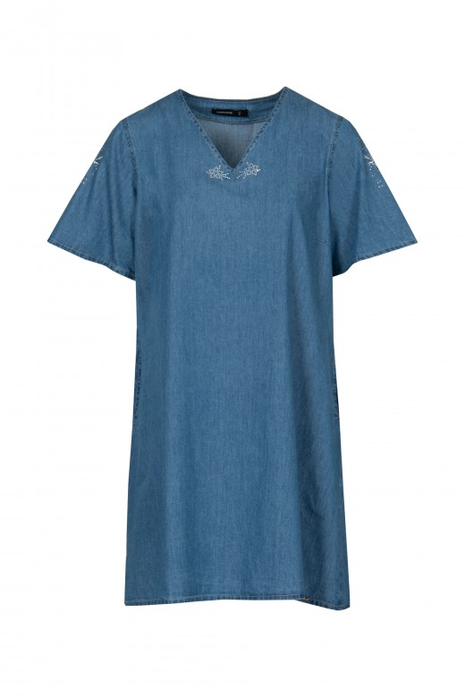 Vestido de mezclilla con detalle bordado en la manga