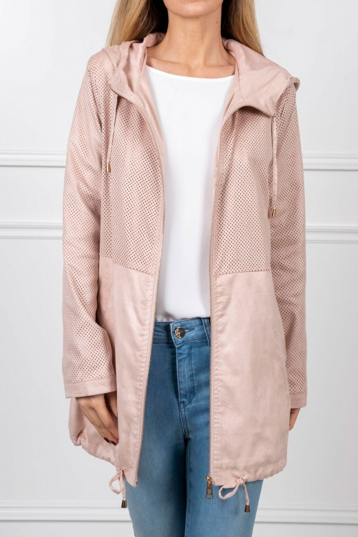 Perforated peach skin parka
