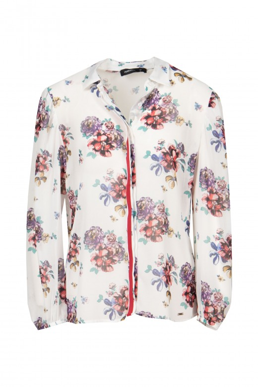 Flowery blouse with plain ribbon