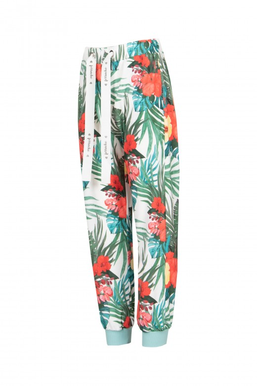 Floral pants with logo