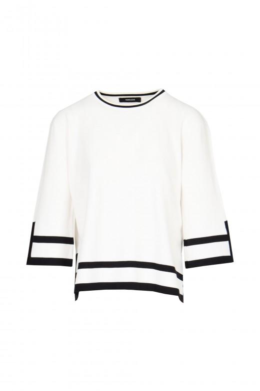 Geometric mesh side split sweater set