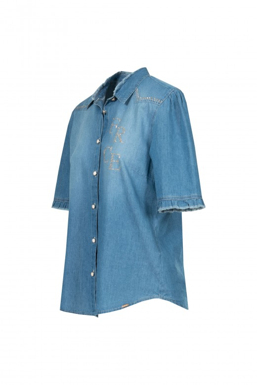 Shiny denim shirt