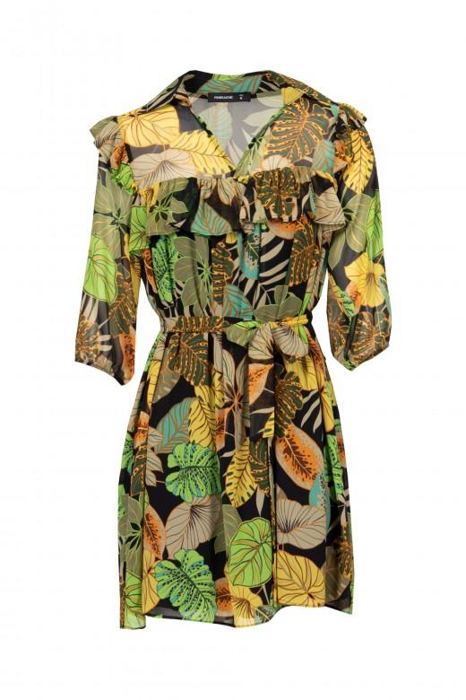 Foliage dress with 3/4 sleeve