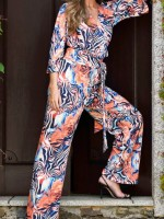 3/4 sleeve animal jumpsuit