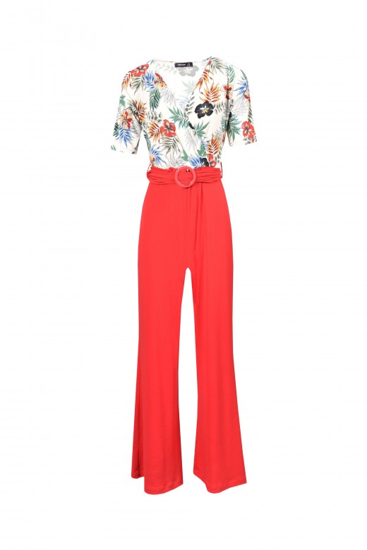 Printed jumpsuit with plain pants