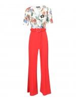 Printed jumpsuit with plain pants