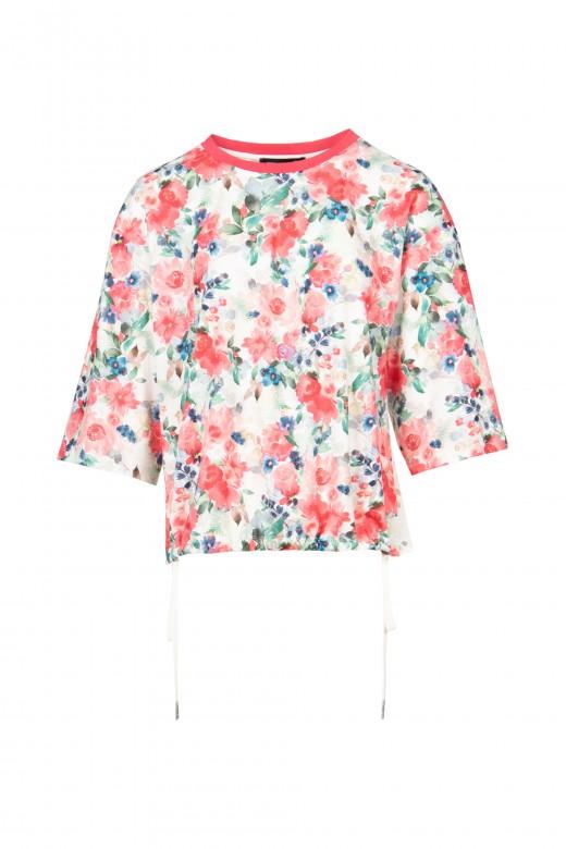 Camisola florida com bordado inglês