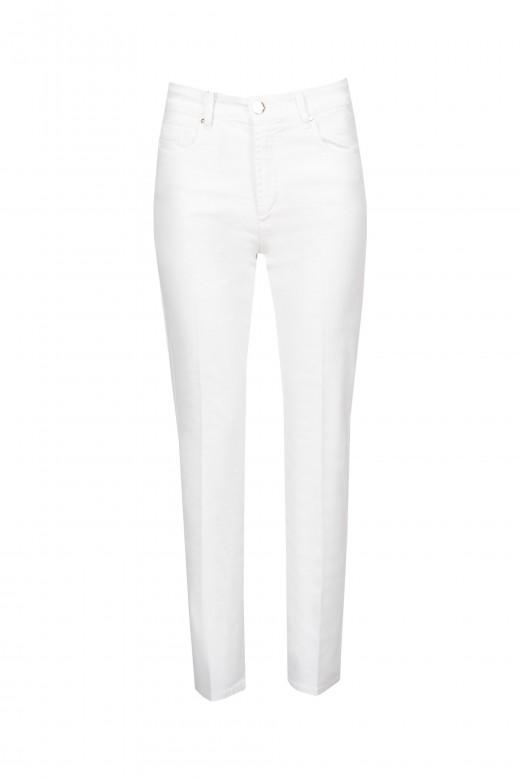 Calça de sarja de cintura  alta