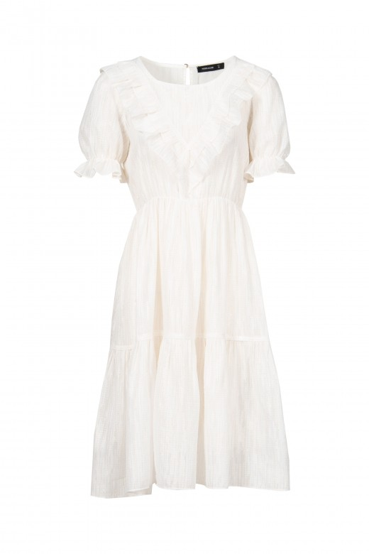 Vestido branco metalizado