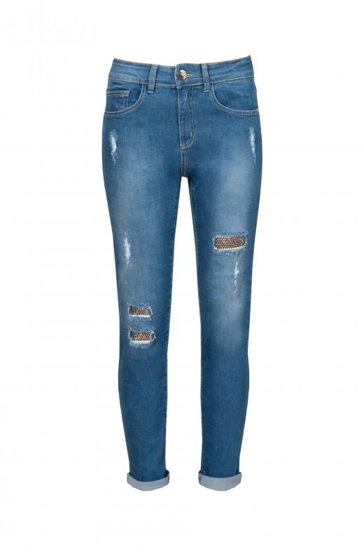 Jeans skinny com rasgos e brilho