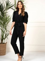 Crossover jumpsuit with flared sleeve