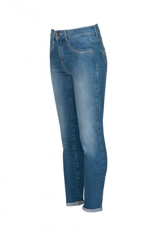 Jeans de cintura alta con brillo