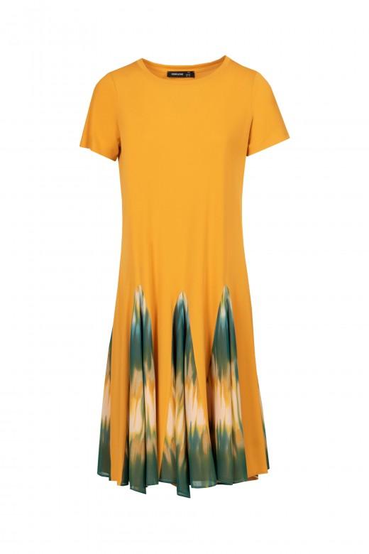 Vestido midi com abertura tie dye