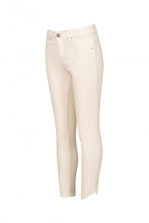 Skinny pants with spiked hem