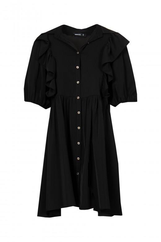 Vestido curto com pormenor de folho