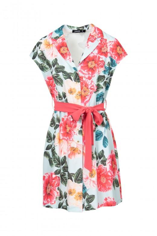 Vestido camiseiro florido