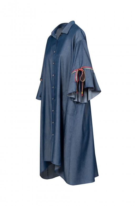 Vestido fluído de ganga