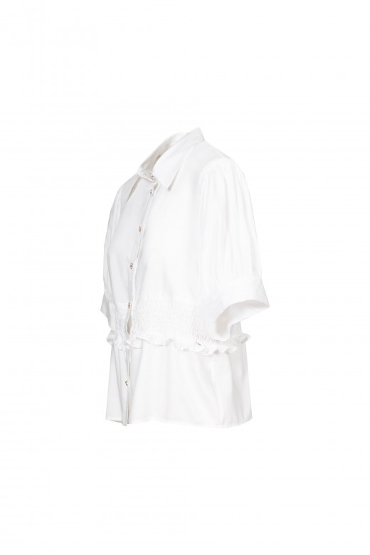 Belted blouse with balloon sleeve