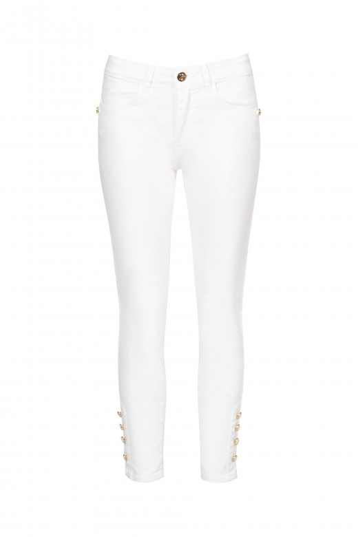 Twill trousers with medium waist