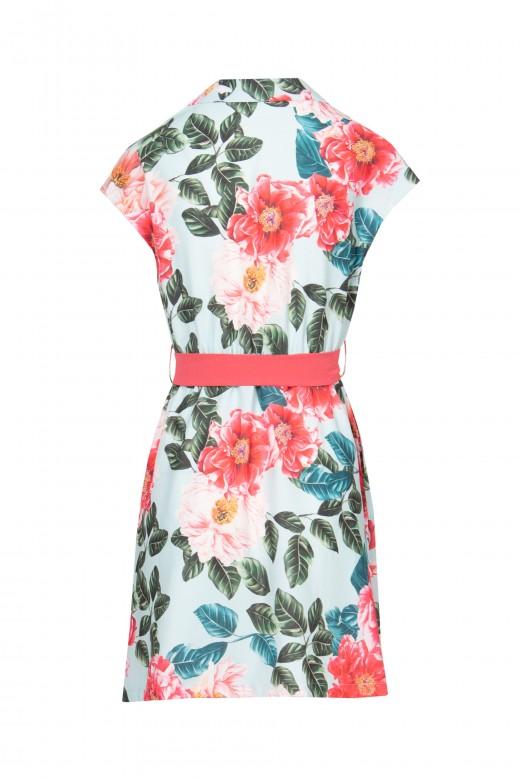 Flowery shirt dress