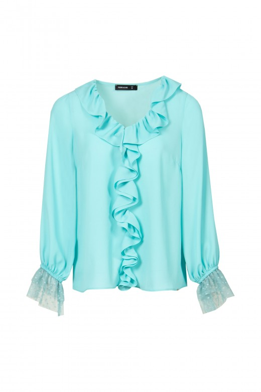 Frill and lace blouse