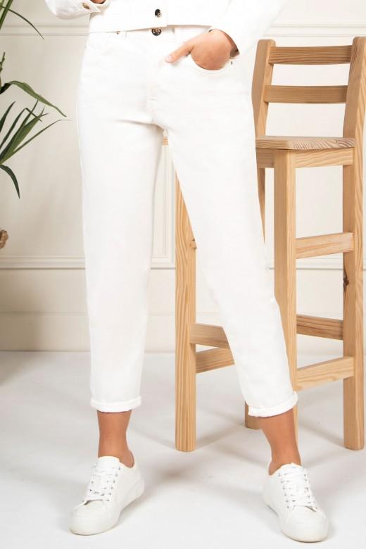Calça de sarja cintura subida slim