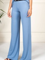 Wide ribbed trousers belt logo