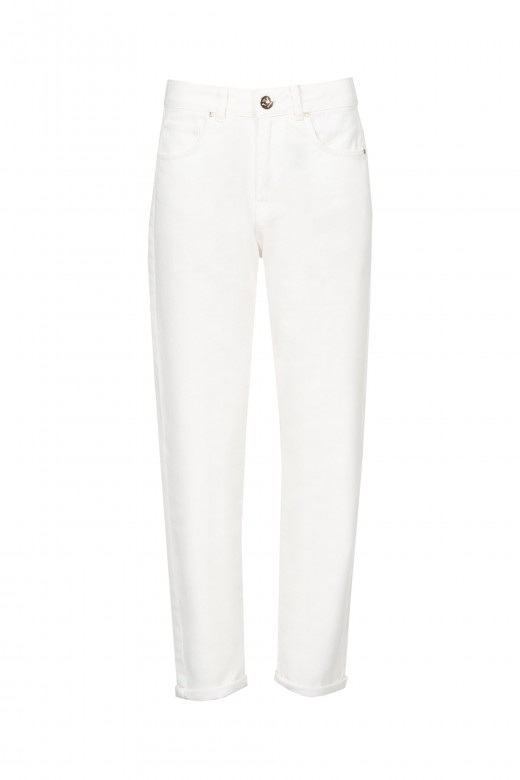 Slim high rise twill trousers