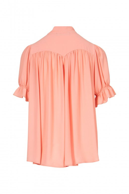 Blouse with lace and draped