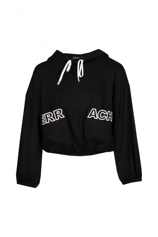 Sweater curta com bolsos logo