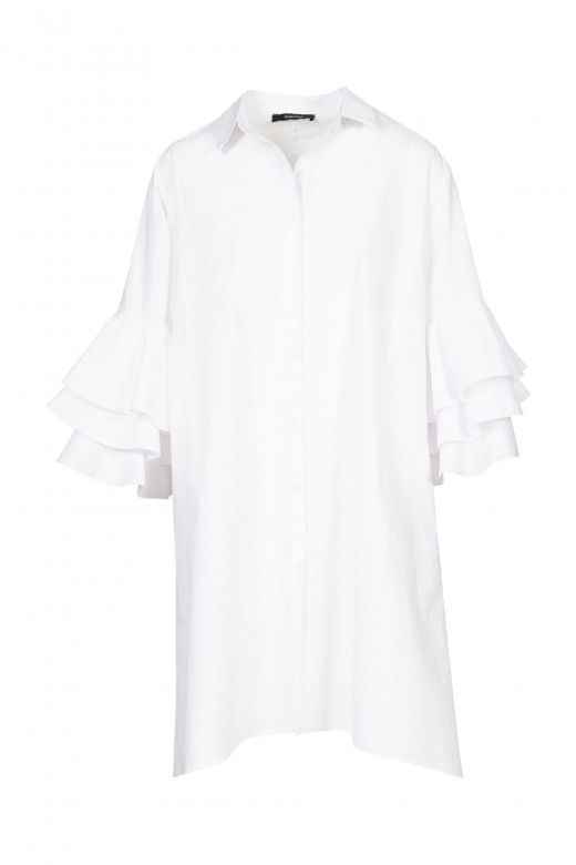 Shirt dress with frill sleeve