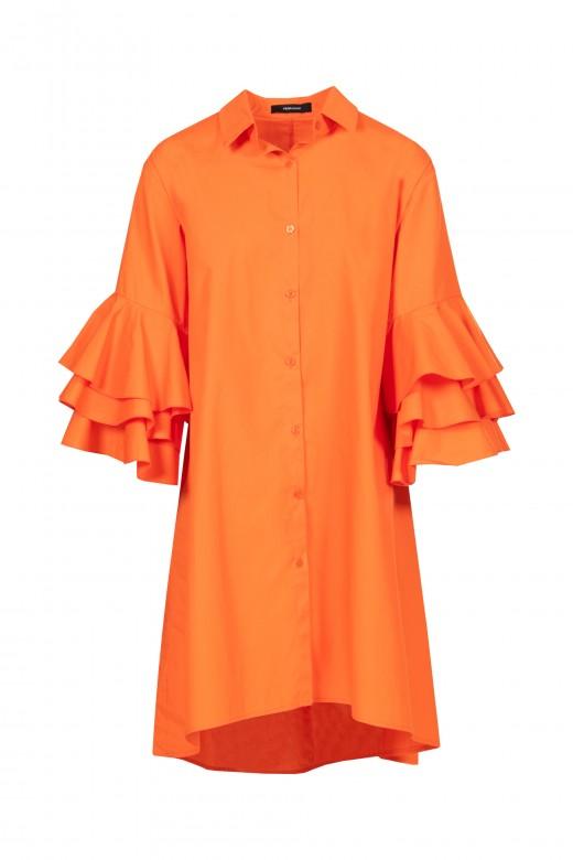 Vestido camiseiro com manga em folho