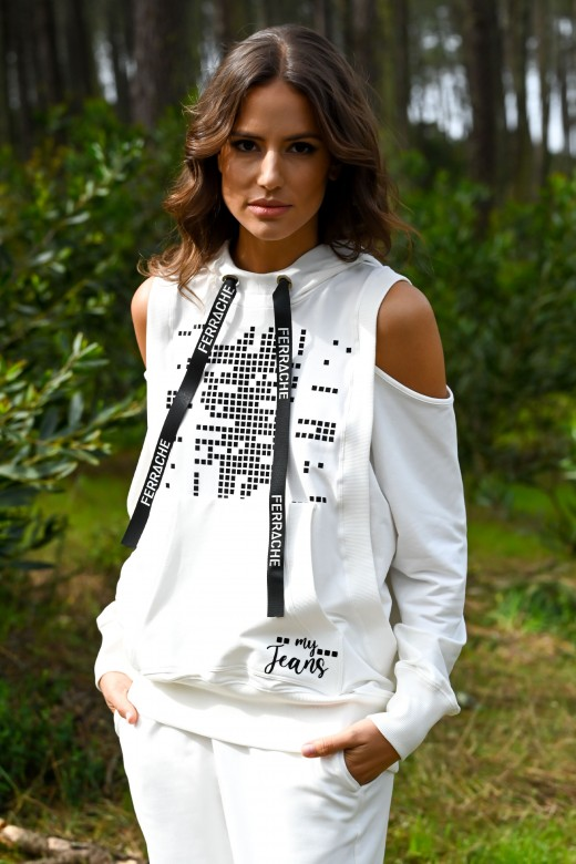 Hooded cut-out sweater on shoulders