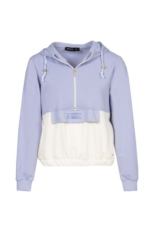 Knitted sweater with zip and flap logo