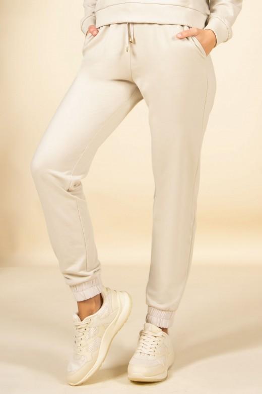 Jogger pants with satin