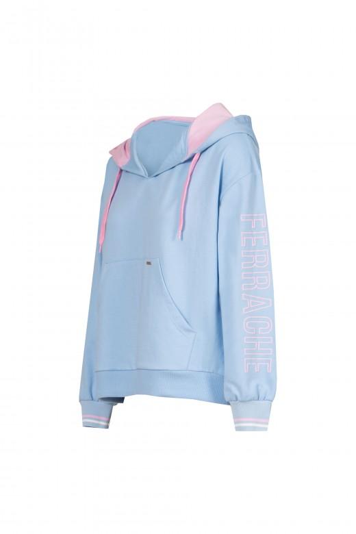Sweater malha com capuz e manga logo