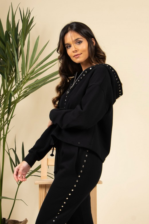 Hooded coat with studs
