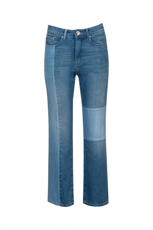 Jeans patchwork à boca de sino