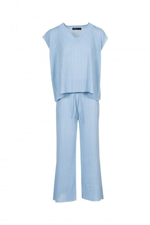 Conjunto de malha canelado calça cullote