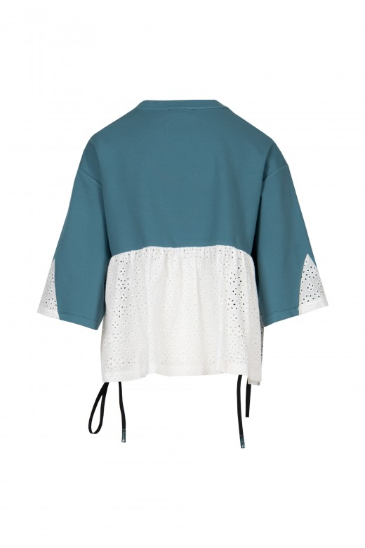 Sweater with cut-work embroidery