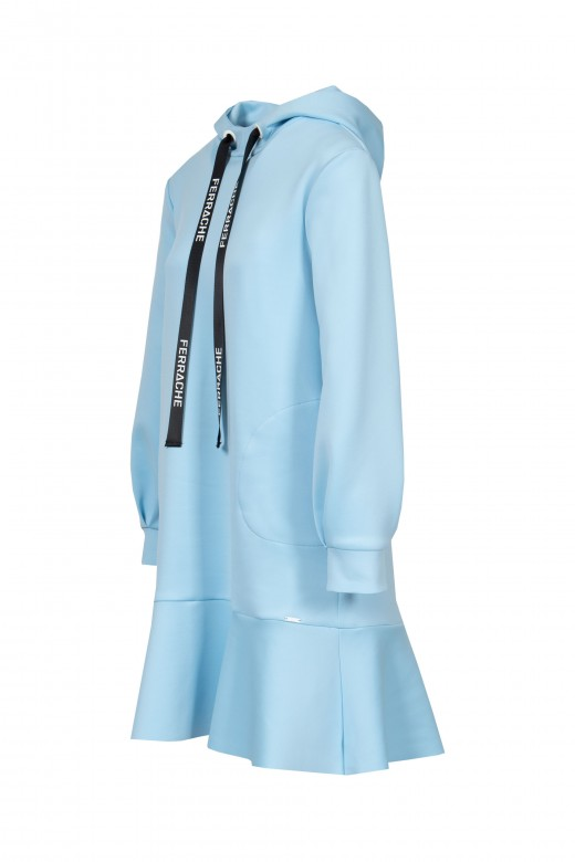 Dress with hood and frill